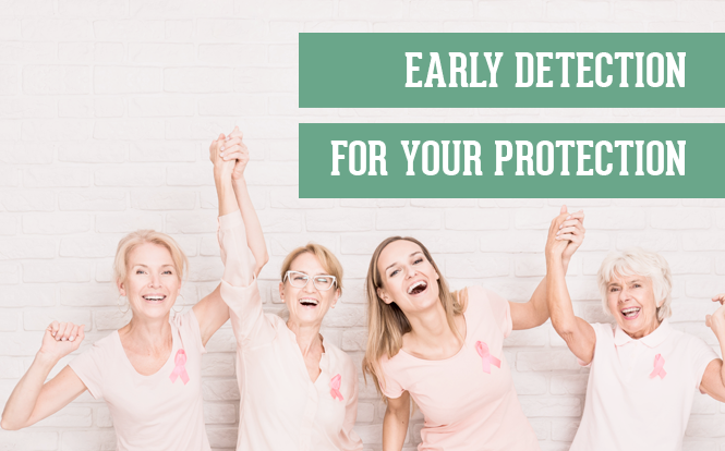Early Detection for your Protection. Women with pink ribbons - breast cancer awareness