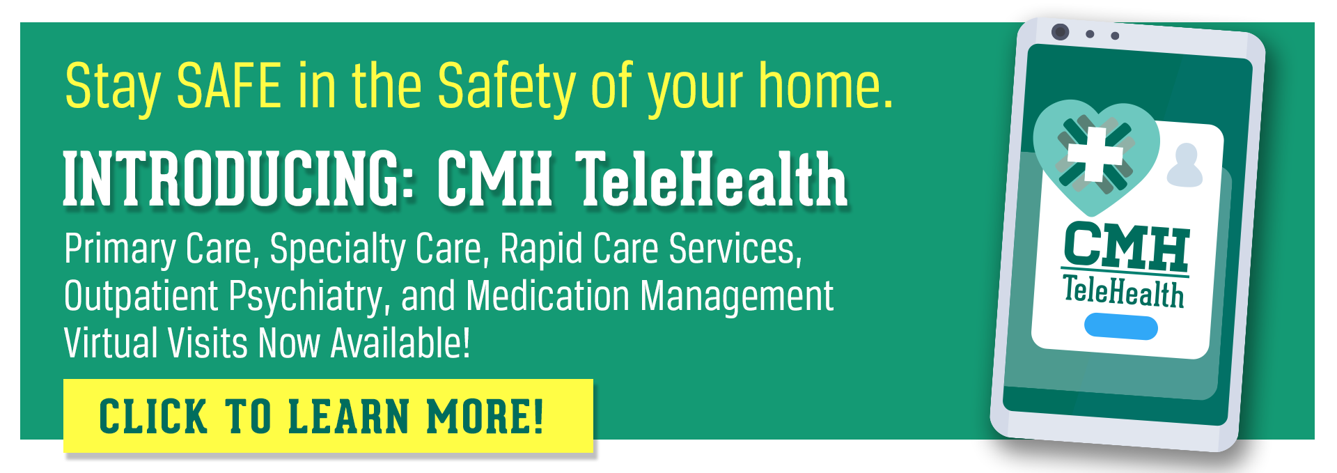 Introducing CMH Telehealth Visits for Primary, Specialty, Rapid Care