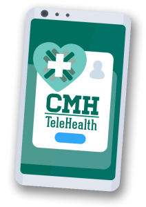 mobile phone graphic with CMH Telehealth on the screen